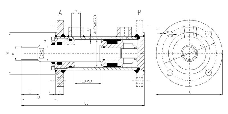 стандартный цилиндр двойного действия CSFA